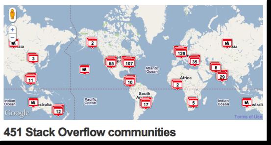Map of Stack Overflow Meetup Communities