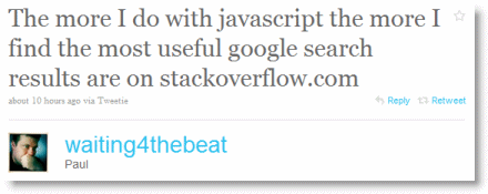 The more I do with javascript the more I find the most useful google search results are on stackoverflow.com
