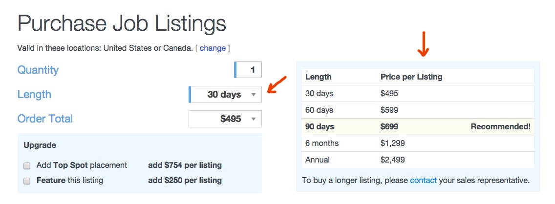 The new Job Listings checkout form, now with longer listings