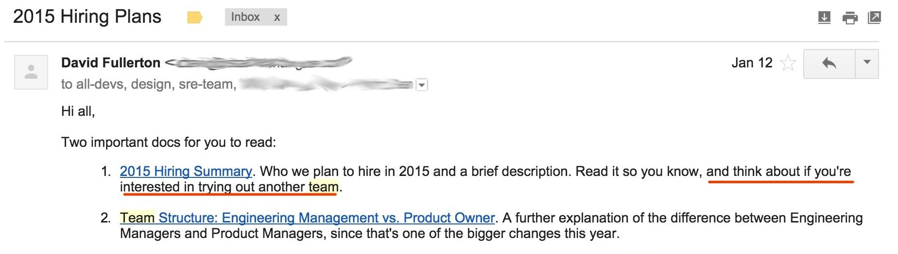 David's E-mail about hiring plans