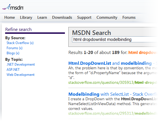 Stack Overflow results on MSDN