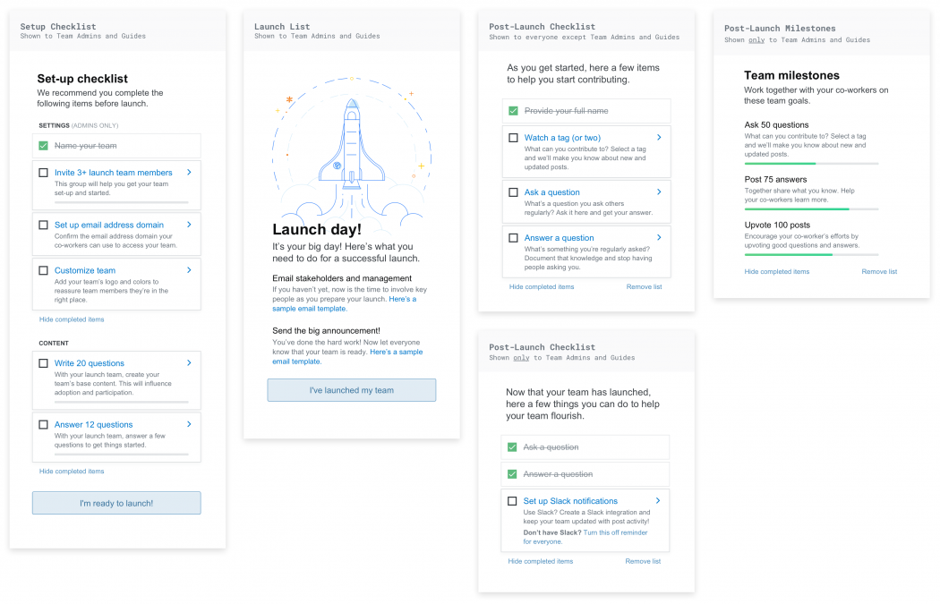 The various sidebar guides that we present to users during the onboarding workflow.
