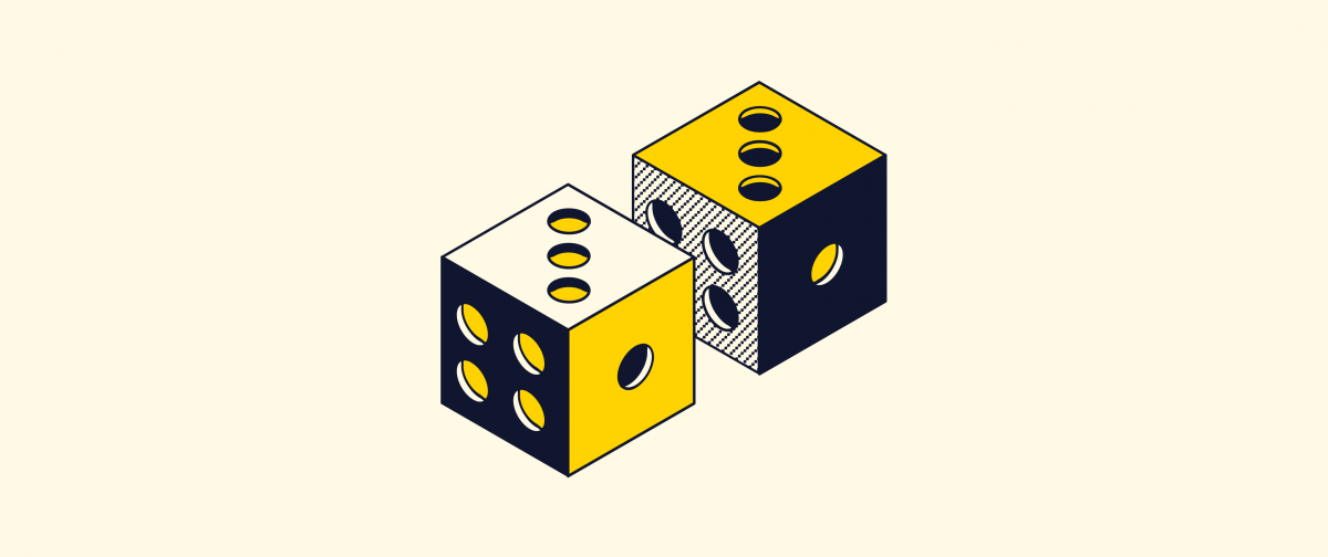 A pair of black and yellow dice