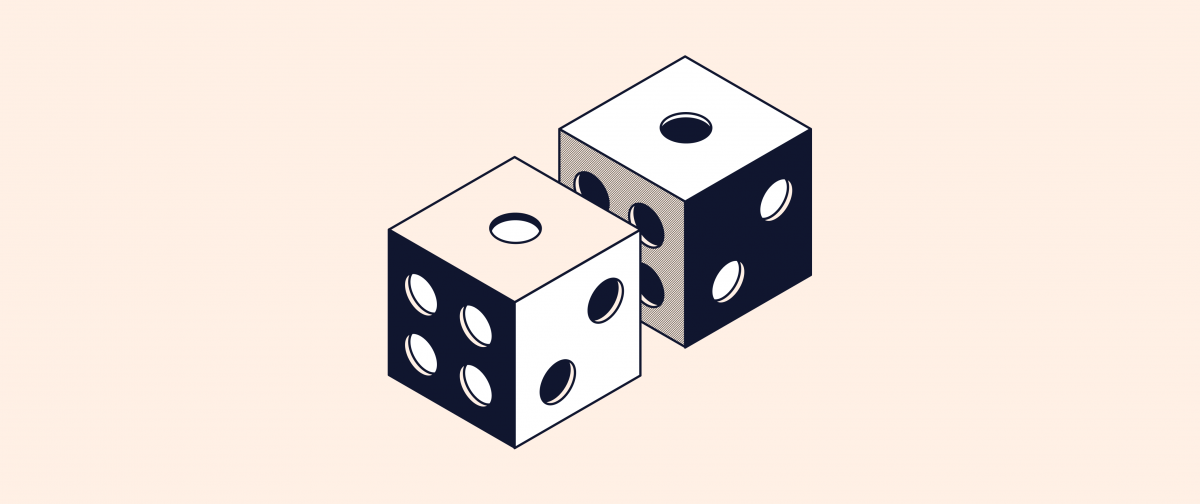 two black and white dice